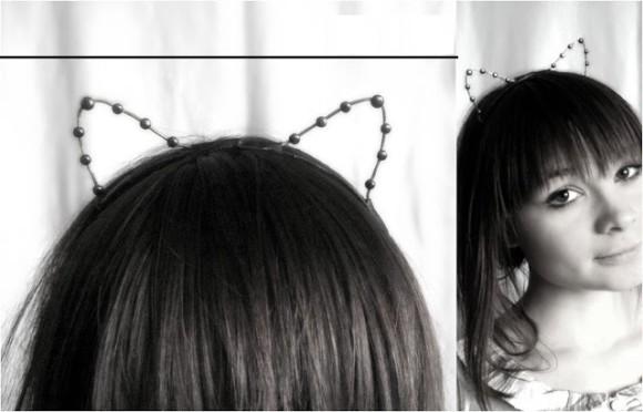 Ободок с кошачьими ушками