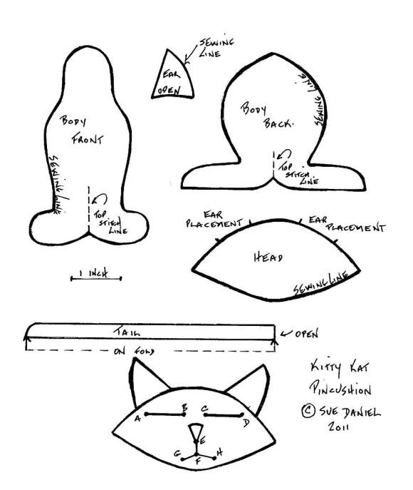 Выкройка игрушки - Дремлющий кот