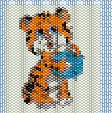котёнок из бисера, котёнок из бисера схема, тигрёнок из бисера схема