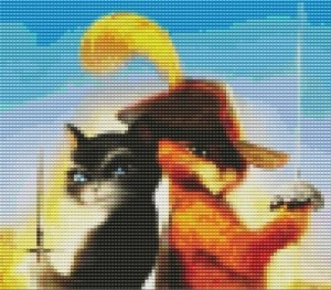 Кот в сапогах картина из бисера