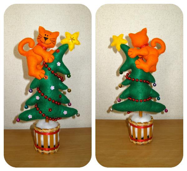 Сшить новогоднюю игрушку - Кот на ёлке