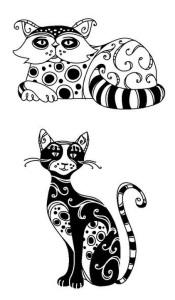 Ажурные трафареты котов