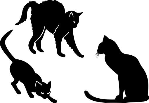 Силуэт котов и кошек