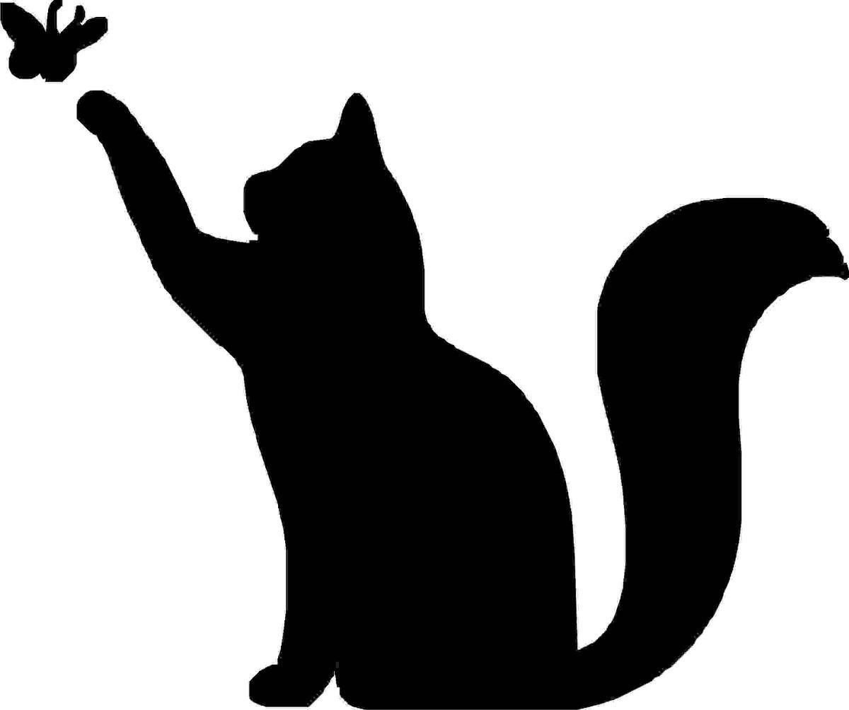Рисунок кот ловит бабочку