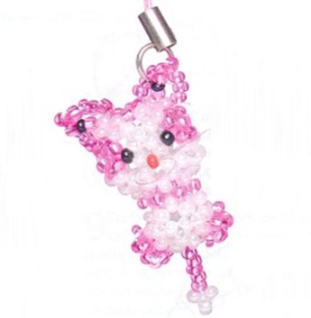Брелок розовый кот из бисера