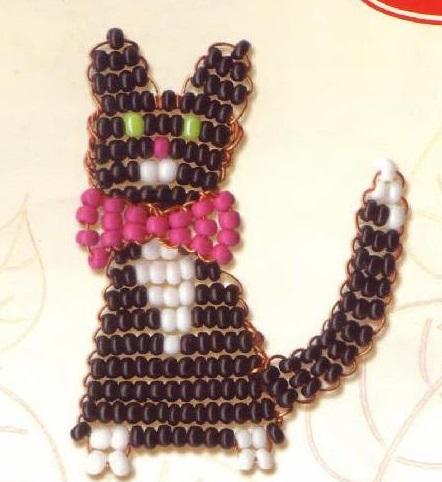 Чёрный кот из бисера