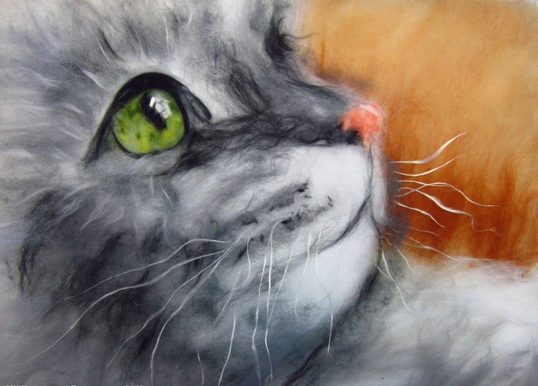 Картины из шерсти кошка мастер класс