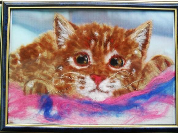 Картина из шерсти мастер класс — рыжий котёнок