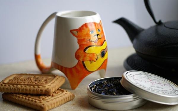Кружка с поющим рыжим котом