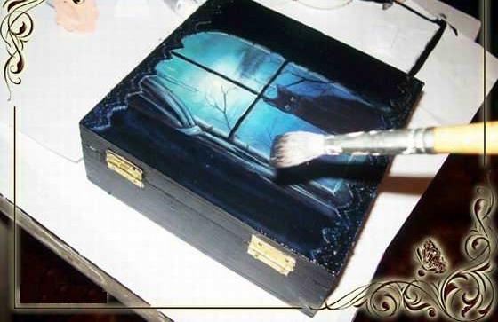 Шкатулка из коробки Чёрная кошка мастер-класс