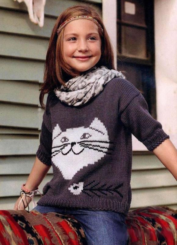 Свитер для детей с рисунком кота