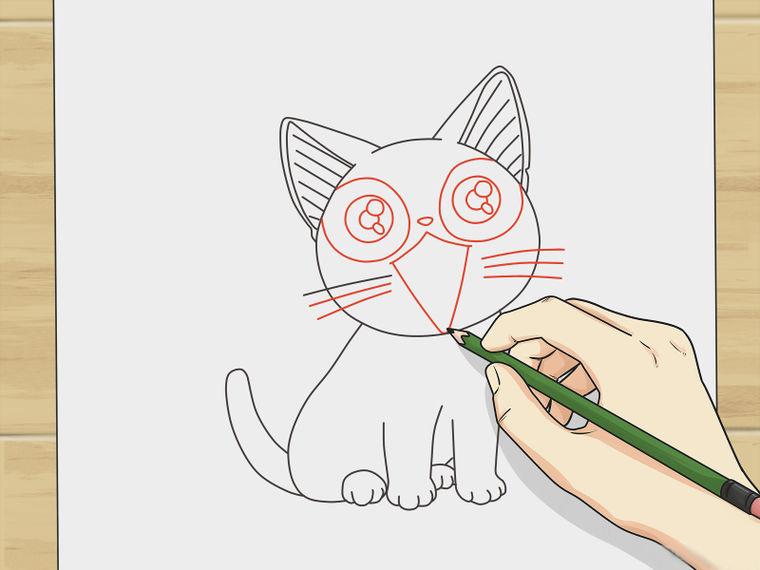 Картинки для срисовки кот аниме