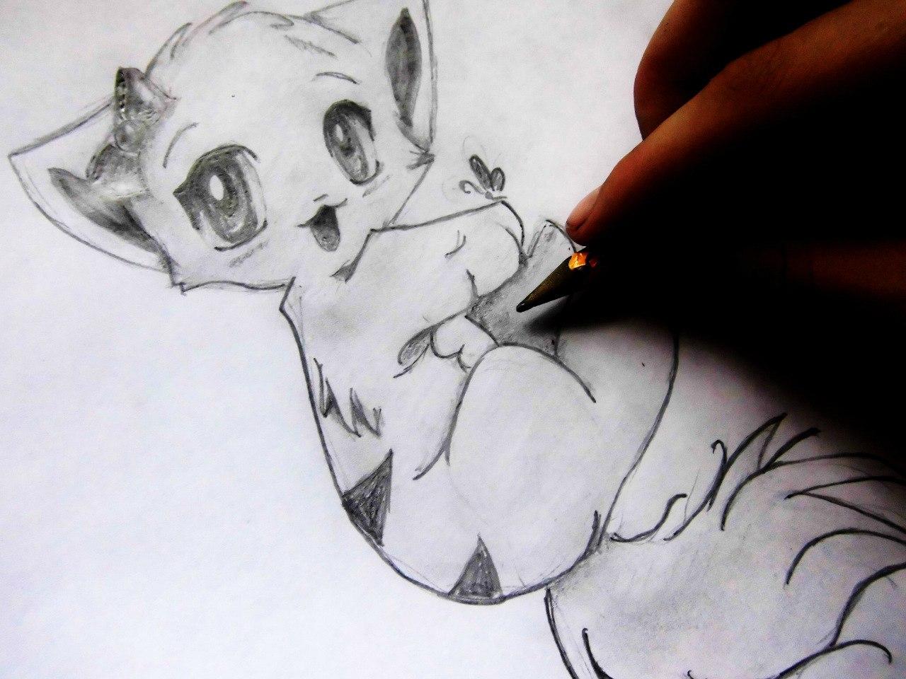 Сложный рисунок аниме кошки