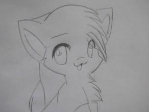 Кошка карандашом