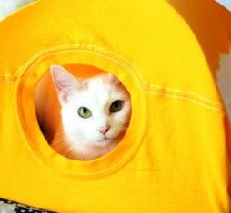 Дом для кошки из старой футболки