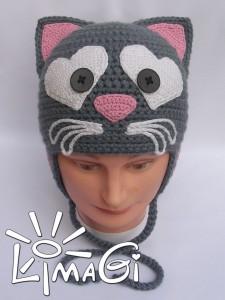 Шапка кошка крючком