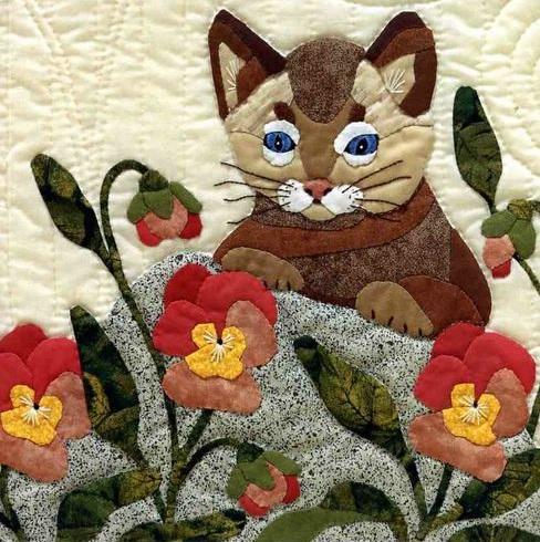 Классные пэчворк подушки кошки