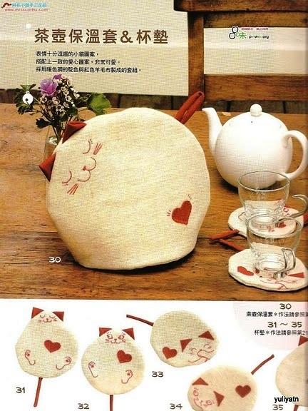 Грелка на чайник Кот (выкройки)