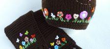 Нежная шапка с ушками и шарф для девочки спицами