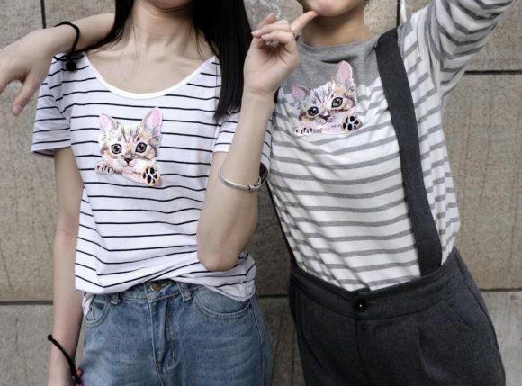 Как украсить футболку – аппликация и вышивка гладью Коты!